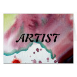 ARTIST Text Over Abstract Red Watercolor Wash Card