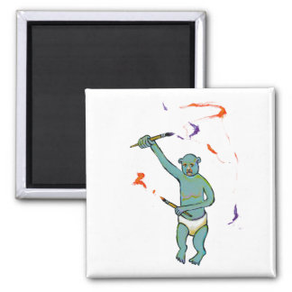 Artist trained monkey strange raw ousiter ugly art 2 inch square magnet