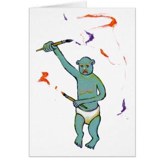 Artist trained monkey strange raw ousiter ugly art greeting card