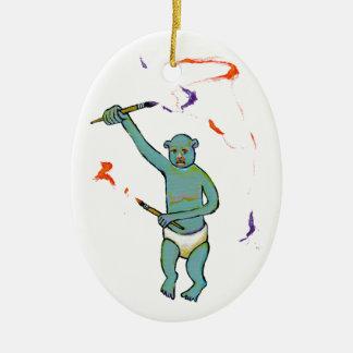 Artist trained monkey strange raw ousiter ugly art ceramic ornament