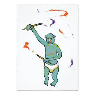 Artist trained monkey strange raw ousiter ugly art 5x7 paper invitation card