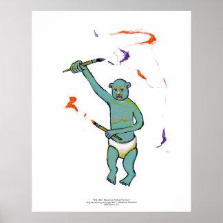 Artist trained monkey strange raw ousiter ugly art poster