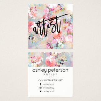 Artist typography modern floral watercolor square business card