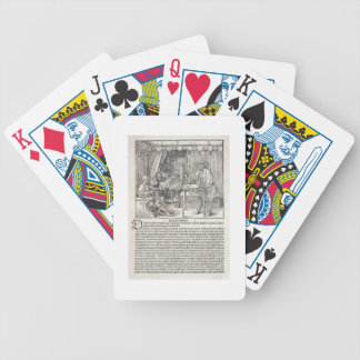 Artist using Durer's drawing machine to paint a fi Bicycle Poker Cards