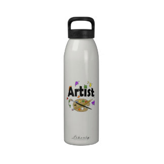 Artist with Colorful Paint Splatters Drinking Bottle