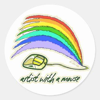 Artista con el ratón pegatina redonda