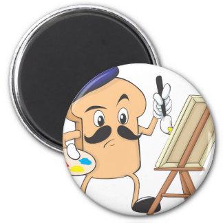 Artista de la tostada francesa imán redondo 5 cm