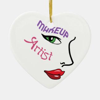Artista de maquillaje adorno navideño de cerámica en forma de corazón