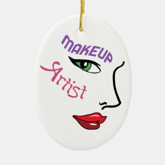 Artista de maquillaje adorno navideño ovalado de cerámica