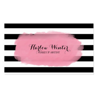 Artista de maquillaje blanco de las rayas del tarjetas de visita