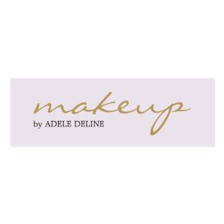 Artista de maquillaje blanco del oro elegante tarjetas de visita mini