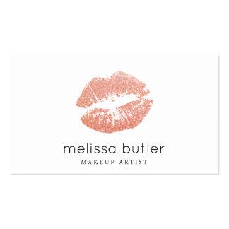 Artista de maquillaje color de rosa elegante de tarjetas de visita