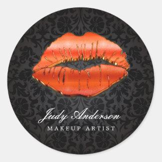 Artista de maquillaje con clase del damasco de los pegatina redonda