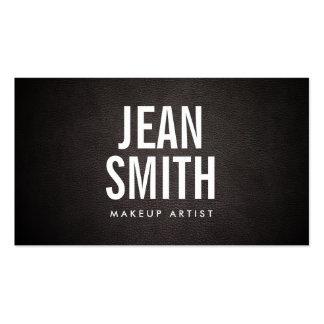 Artista de maquillaje de cuero oscuro del texto tarjetas de visita