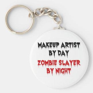 Artista de maquillaje del asesino del zombi del dí llavero redondo tipo pin