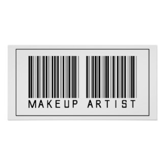 Artista de maquillaje del código de barras póster