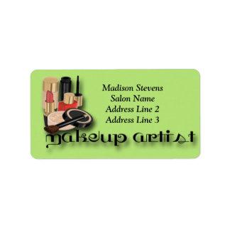 Artista de maquillaje, etiquetas de dirección del