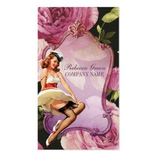 artista de maquillaje femenino del vintage color d tarjeta de visita
