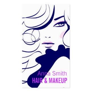 Artista de maquillaje largo del pelo de la mujer d tarjetas de visita