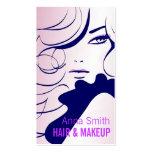 Artista de maquillaje largo del pelo de la mujer d tarjeta de visita