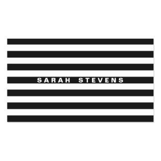 Artista de maquillaje moderno rayado blanco y negr tarjetas de negocios