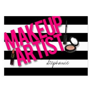 Artista de maquillaje negro y rosado tarjetas de visita grandes