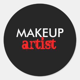 Artista de maquillaje pegatina redonda