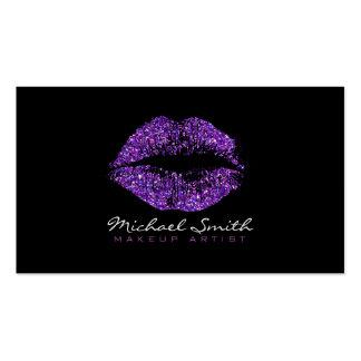 Artista de maquillaje púrpura elegante de los tarjetas de visita