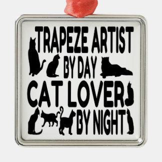 Artista de trapecio del amante del gato adorno navideño cuadrado de metal