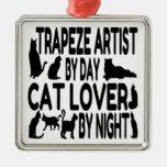 Artista de trapecio del amante del gato ornamento para arbol de navidad
