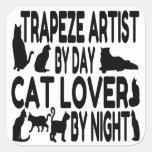 Artista de trapecio del amante del gato pegatina cuadrada