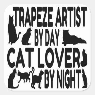Artista de trapecio del amante del gato colcomanias cuadradas personalizadas