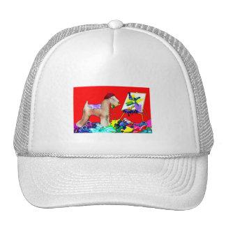 Artista de trigo de Terrier (Bkgd rojo) Gorras De Camionero