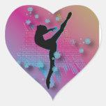 Artista del baile calcomanías de corazones personalizadas