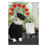 Artista del gato en tarjeta del día de San Valentí