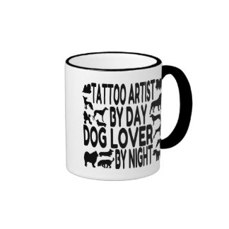 Artista del tatuaje del amante del perro tazas de café