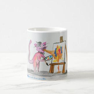 Artista del vómito del gato taza de café