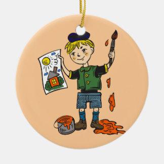 Artista e ilustraciones 2 del muchacho adorno redondo de cerámica
