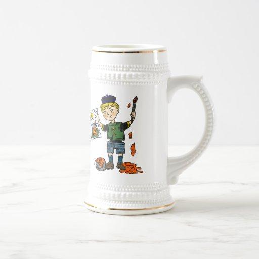 Artista e ilustraciones 2 del muchacho taza