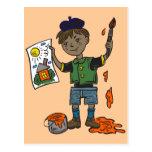 Artista e ilustraciones del muchacho postal