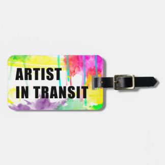 Artista en goteos de la acuarela de la etiqueta etiquetas de equipaje