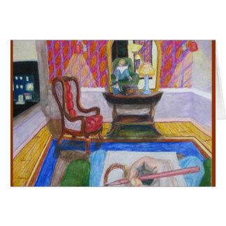 Artista en sitio con la silla roja tarjetas