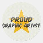 Artista gráfico orgulloso etiqueta redonda