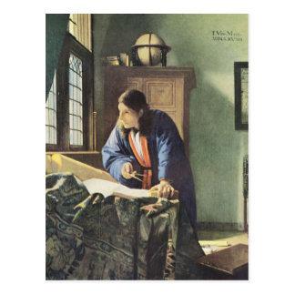 Artista holandés Vermeer que pinta al geógrafo Tarjetas Postales