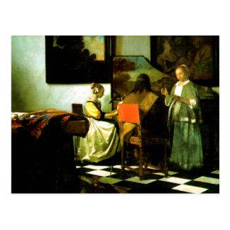 Artista holandés Vermeer que pinta el concierto Postal