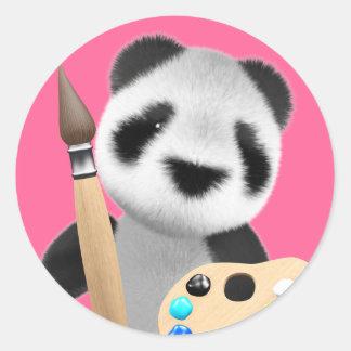 Artista lindo de la panda 3d (editable) pegatina redonda