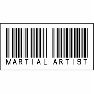 Artista marcial del código de barras escultura fotográfica