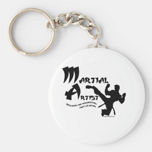 Artista marcial llavero redondo tipo pin