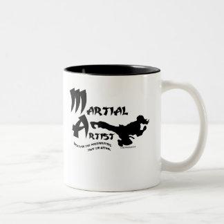 Artista marcial taza de café de dos colores