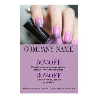 "artista púrpura del clavo de la moda de belleza folleto 5.5"" x 8.5"""